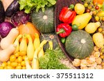colorful fruits and vegetables... | Shutterstock . vector #375511312