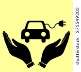 eco electrocar sign. flat style ... | Shutterstock .eps vector #375549202