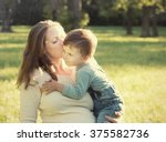 mother with child son walking... | Shutterstock . vector #375582736