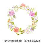 watercolor. floral wreath round. | Shutterstock . vector #375586225