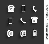 phone icons flat design with...