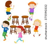 children playing music chairs... | Shutterstock .eps vector #375590332