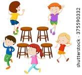 children playing music chairs... | Shutterstock .eps vector #375590332