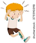 sad boy having headache... | Shutterstock .eps vector #375590398