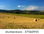Rural Landscape With Bales On...