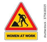women at work sign vector... | Shutterstock .eps vector #375618325