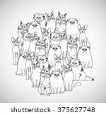group cats black and white... | Shutterstock . vector #375627748
