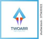 double arrow logo. two up arrow ... | Shutterstock .eps vector #375633322