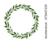 green laurel wreath. watercolor ... | Shutterstock . vector #375637255