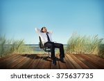 businessman relaxation freedom... | Shutterstock . vector #375637735