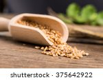 bailer of wood with the ancient ... | Shutterstock . vector #375642922