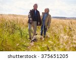 Stock photo senior couple taking dog for walk in countryside 375651205