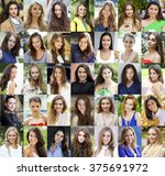 collage of beautiful young... | Shutterstock . vector #375691972