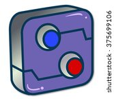 box with button  red and blue ...   Shutterstock .eps vector #375699106