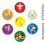 symbols of the seven sacraments ... | Shutterstock .eps vector #375703705