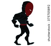 ninja bad guy standing red... | Shutterstock .eps vector #375705892