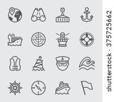 port marine line icons