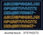 neon alphabet font with led... | Shutterstock .eps vector #375743272
