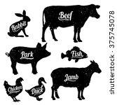 set of butchery logo templates. ... | Shutterstock .eps vector #375745078