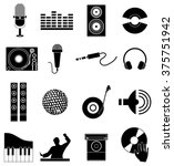 dj music icons set