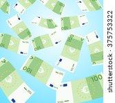 money falling from sky on blue... | Shutterstock .eps vector #375753322