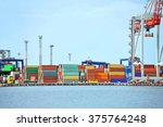 port cargo crane and container... | Shutterstock . vector #375764248