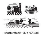 Vector Black Flat Farm Icons O...