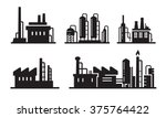 vector black flat factory icons ... | Shutterstock .eps vector #375764422