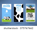 trendy vector milk label...   Shutterstock .eps vector #375767662