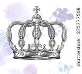 crown. hand drawn vector... | Shutterstock .eps vector #375777508