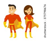 cartoon superhero couple  man... | Shutterstock .eps vector #375798676