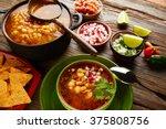 pozole with mote big corn stew...   Shutterstock . vector #375808756