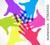 circle of colorful silhouettes... | Shutterstock .eps vector #375824332