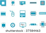 Vector icons pack - Blue Series, hardware collection - stock vector
