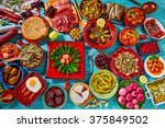 tapas from spain mix of most... | Shutterstock . vector #375849502