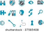 Vector icons pack - Blue Series, investigation collection - stock vector