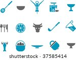 Vector icons pack - Blue Series, kitchen collection - stock vector