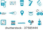 Vector icons pack - Blue Series, music collection - stock vector
