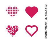 set of 4 valentine hearths | Shutterstock .eps vector #375866512
