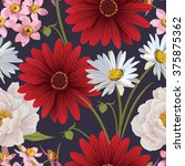 floral seamless patterns with... | Shutterstock .eps vector #375875362