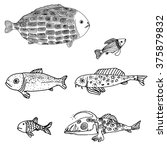 fish painted by hand. line art. ... | Shutterstock .eps vector #375879832