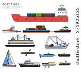 Boats and ships types. Military boat, powerboats, cargo boats, inflatable boat isolated on white background. Thin line flat design - stock vector
