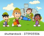 children playing skateboard ... | Shutterstock . vector #375935506