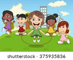 children playing jump rope  eat ... | Shutterstock . vector #375935836