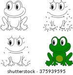 cartoon frog. coloring book and ... | Shutterstock .eps vector #375939595
