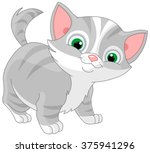 illustration of striped kitten  | Shutterstock .eps vector #375941296
