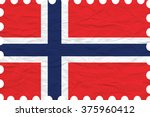 wrinkled paper norway stamp ... | Shutterstock .eps vector #375960412