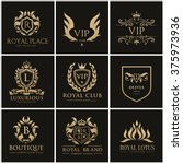 luxury gold crest logo... | Shutterstock .eps vector #375973936