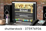 monitor with bread recipe on... | Shutterstock . vector #375976936