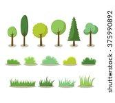 tree vector elements | Shutterstock .eps vector #375990892